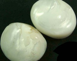 PAIR PEARLY WHITE IRRESESENT BEAD-DRILLED 105.90CTS [PF1699