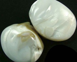 PAIR PEARLY WHITE IRRESESENT BEAD-DRILLED 98.65 CTS [PF1700]