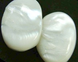 PAIR PEARLY WHITE IRRESESENT BEAD-DRILLED 89.75 CTS [PF1703]