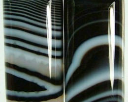 NATURAL ZEBRA  BANDED AGATE PAIR -54.45 CTS [MX7501]