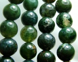 100% Natural African Moss Agate Beads B609
