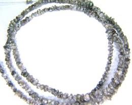 METALLIC SILVER GREY ROUGH DIAMOND STRAND 18.70 CTS AS-A2096