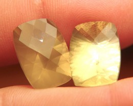 24 Carat Matched Pair Concave Cut Milky Quartz - Elegant