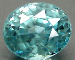 ZIRCON SEA BLUE .85 CARAT WEIGHT OVAL STEP CUT GEMSTONE RARE