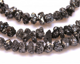 45CTS BLACK DIAMONDS GENUINE NATURAL STRAND TBG-63