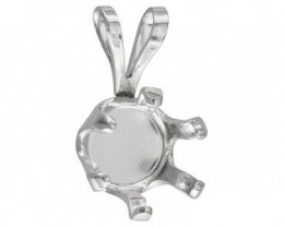 STERLING SILVER 925 7 MM ROUND PENDANT CASTING 6 PRONG NR