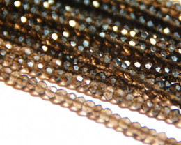 3.5mm coffee colored faceted Smokey Quartz beads 37ct 14in