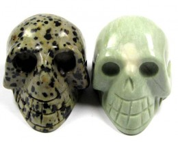 TWO JASPER  SKULL CARVING   714 CARATS   AAT 1841