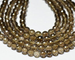 """8"""" line 7mm SMOKEY QUARTZ AAA round faceted beads smk006"""