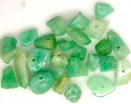 EMERALD BEAD UNTREATED DRILLED 24 PCS 40.1 CTS  NP-1332