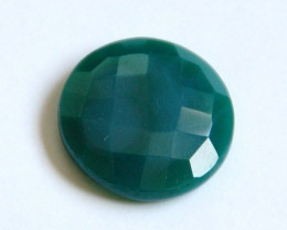 Large Superb Green onyx round faceted cabochon 44.55ct