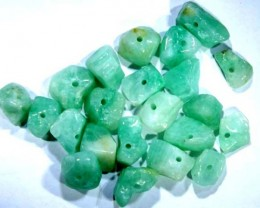EMERALD BEAD UNTREATED DRILLED 22 PCS 40 CTS NP-1559