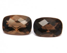 Pair of cushion cut Smokey quartz gemstones 7.4ct