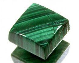 GREEN MALACHITE 3.40 CARAT WEIGHT SQUARE CUT CABOCON GEM NR