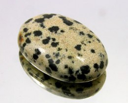 DALMATION JASPER 17 CARAT WEIGHT OVAL CUT CABOCHON GEMSTONE