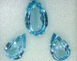 12 CTS  3 PCS SWISS BLUE TOPAZ VVS1 SPECIAL CARVED  SG-2242 GC