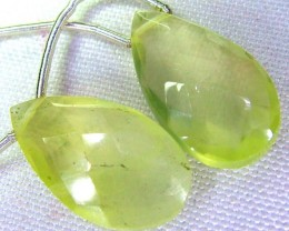 PREHNITE  DROPS PAIR FACETED   DRILLED 14.54 CTS  SG-2178