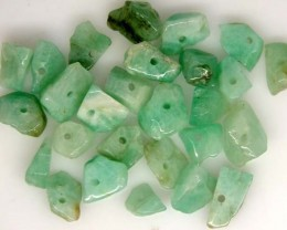 EMERALD BEAD UNTREATED DRILLED 26 PCS 40.2 CTS   NP-1325