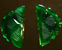NATURAL GREEN ONYX CARVINGS 36.26 CTS 90073