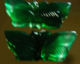 NATURAL GREEN ONYX CARVINGS 24.60 CTS 90080