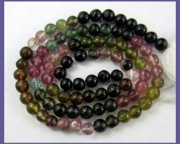 """AA"" GRADE MULTI-TOURMALINE 3.50-4.00MM SMOOTH ROUND BEADS"