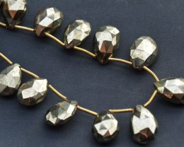 16 PYRITE classic briolettes faceted12mm - 16mm