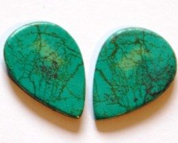 Superb pair of Tibetan Turquoise 29.60ct