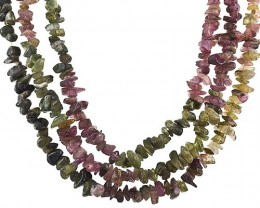 MULTI COLORED TOURMALINE 246 CARAT WEIGHT BEAD STRAND POLISH