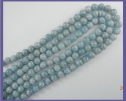 AA WONDERFUL 8.00MM AQUAMARINE SMOOTH ROUND BEAD STRAND!!