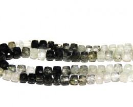 "Box Checker cut TOURMALATED QUARTZ beads 10"" line 7mm 120ct"