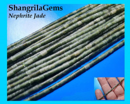 2mm 26 inch Nephite Jade green tube beads Tube 2 by 3mm 2mm wide 3mm long