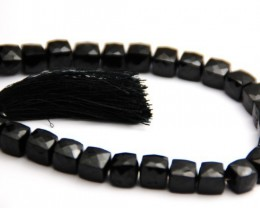 "Black Spinel Box Checker beads 8""  7.5mm spbb01"