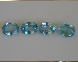 Four HUGE 8mm Caribbean Blue Zircon gems - stunning parcel