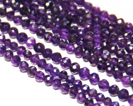 "ROUND AMETHYST Israeli cut 3mm beads 13.5"" line  am012"
