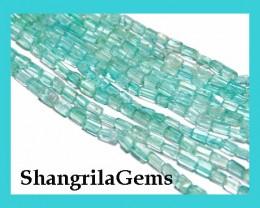 "*NEW*  Superb square  APATITE hand-cut beads 14"" line"