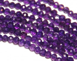 "3mm AAA deep purple AMETHYST faceted beads 14"" 35cm"