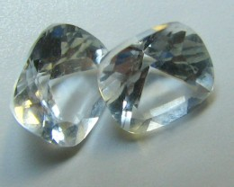 WHITE TOPAZ 2 PIECES 2.20 CTS  CUSHION CUT