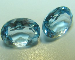 SKY BLUE TOPAZ 2 PIECES 3.10 CTS  CUSHION CUT