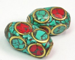 NEPAL BEAD PARCEL-CORAL TURQUOISE 27.00 CTS [MX9959]