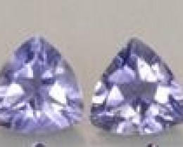 2 TANZANITE GEMSTONES .56 CARAT WEIGHT TRILLION CUT LOVELY