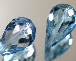 PAIR BLUE TOPAZ BEAD  PEAR SHAPE 7.50 CTS  GW 1473