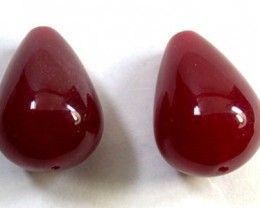 PAIR 2 PCS LARGE NATURAL QUARTZ BEADS 92 CARATS GW 1643