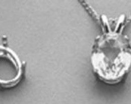 6x4mm Oval Pre-Notched Pendant Setting in Sterling Silver