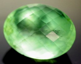 GEM GRADE FLUORITE -CHECKERBOARD  CUT  LARGE 25.4 CTS [S530]