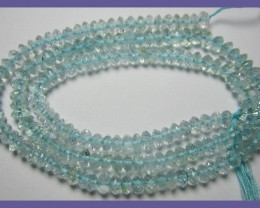 """SUPERB COLOR ""AAA"" 3.5-4.50MM AQUAMARINE ROUNDELS!!"""