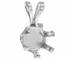 STERLING SILVER 925 4 MM ROUND PENDANT CASTING 6 PRONG