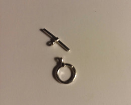 STERLING SILVER 925  ROUND TOGGLE RING & BAR CLASP SET