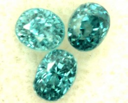 BLUE ZIRCON FACETED STONE (3 PCS) 2.70 CTS   PG-1434