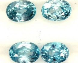 BLUE ZIRCON FACETED STONE (4 PCS) 6 CTS  PG-1364