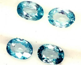 BLUE ZIRCON FACETED STONE (4 PCS) 4 CTS  PG-1367